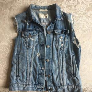 Rag and Bone distressed denim vest, size S